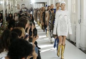 Models on the Maison Margiela couture catwalk.