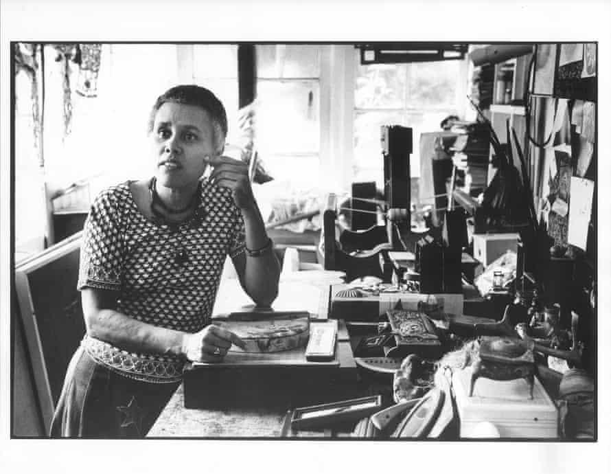 Betye Saar in her studio, 1974.