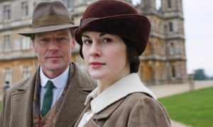 Iain Glen and Michelle Dockery in Downton Abbey.
