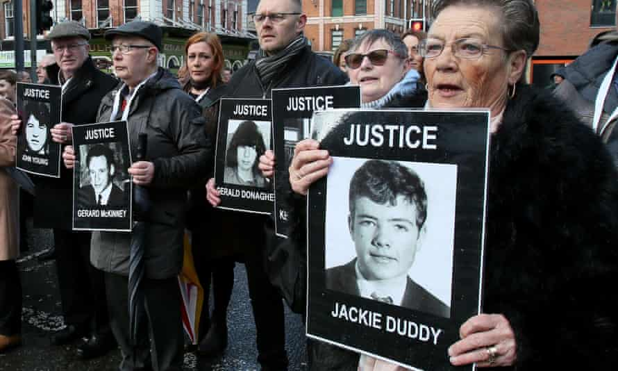 Relatives and supporters of the victims of the 1972 Bloody Sunday killings on the way to court in Derry this year.