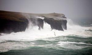 Atlantic breakers on Orkney's coast.