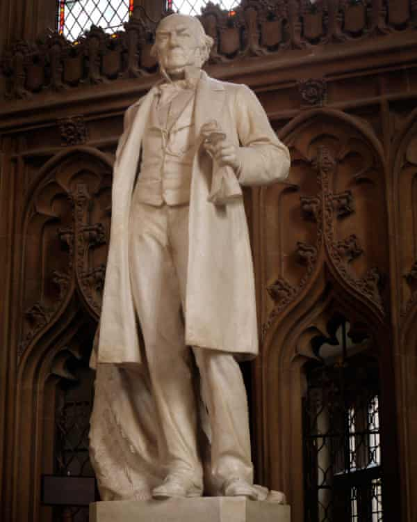 Statue of William Gladstone in the Central Lobby of the Houses of Parliament.