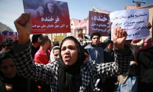 Activists protest against the killing of Afghan woman Farkhanda, in Kabul, by an angry mob.