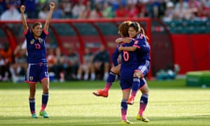 Japan celebrate their victory over England in the 2015 Women's World Cup.