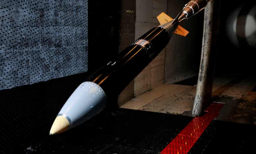 A B61-12 model awaits testing in a wind tunnel at the Arnold Engineering Development Centre in Tennessee. (Photo courtesy of the National Nuclear Security Administration)