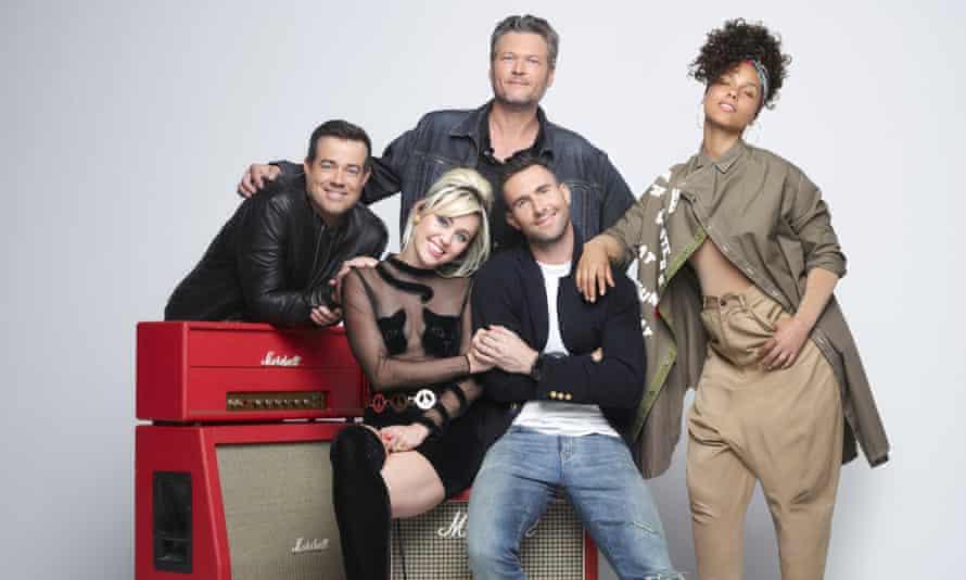 Dream team? Host Carson Daly, Miley Cyrus, Blake Shelton, Adam Levine and Alicia Keys