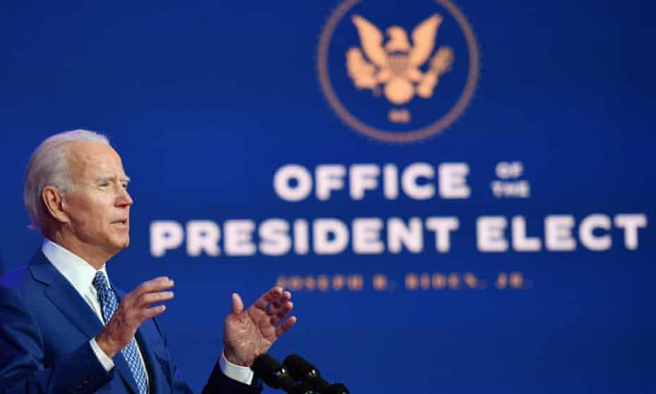 Joe Biden speaks in Wilmington, Delaware, on 9 November.