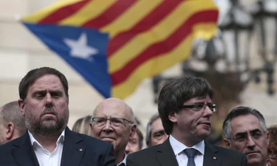 Former Catalan vice-president, Oriol Junqueras, left, who is on trial, pictured in 2017 with former Catalan President, Carles Puigdemont, who is now in self-imposed exile.