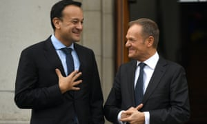 The Irish prime minister Leo Varadkar (left) with Donald Tusk, president of the European council, in Dublin.