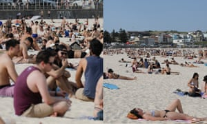 A composite showing two photographs taken from the same vantage point on Bondi Beach in Sydney: the left image is taken with a 400mm telephoto lens and the right a 24-70mm lens.