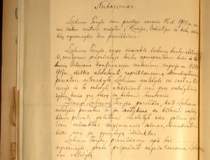 Part of Lithuania's rediscovered independence declaration from 16 February 1918
