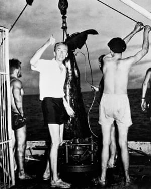 Dynamite and guns … Jacques Cousteau oversees the hoisting of a whale in The Silent World.