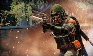 A Hunter brandishes an exotic hand cannon in a Destiny 2 adventure.