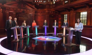 Britain's party leaders, with the exception of Theresa May, at last week's televised debate from Cambridge. Do any of the nation's politicians really offer a fresh vision for the new age which the nation is entering?