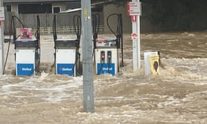 Water floods a gas station in north Queensland