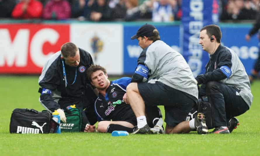 Michael Lipman receives treatment during Bath's European Challenge Cup final against Worcester in 2008