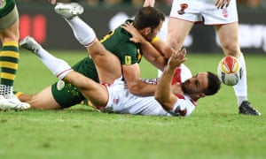 England's Luke Gale is tackled during the final of the 2017 rugby league World Cup at the Suncorp Stadium, Brisbane.
