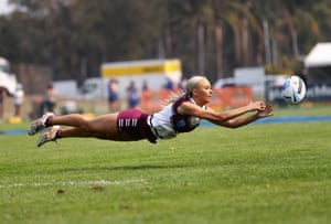 'Flying Low'. Manly Touch Football Premier League player Tayla Clifford flying low.