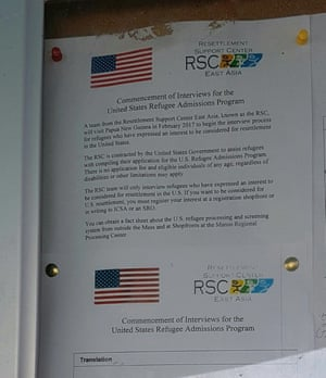 A notice posted inside the Manus Island detention centre advertising the US refugee resettlement program.