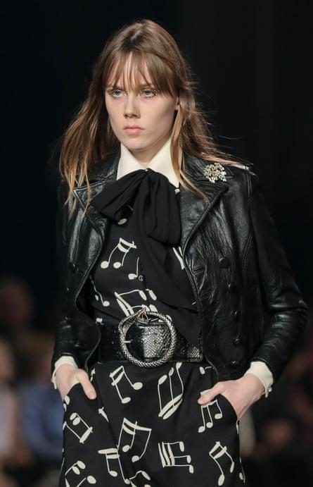 A model at the Saint Laurent show.