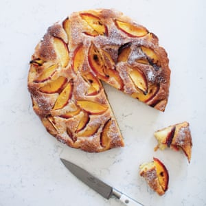 Marzipan and roasted nectarine cake. Taken from The Art of the Larder by Claire Thomson. 20 best easy puddings.