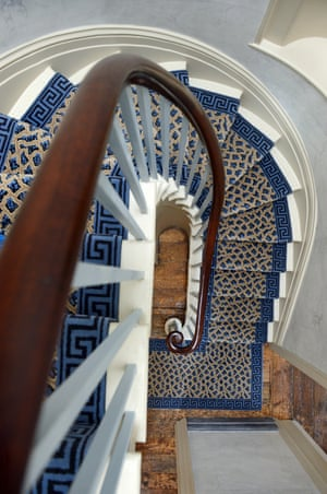 The carpeted staircase at Sandycombe House.