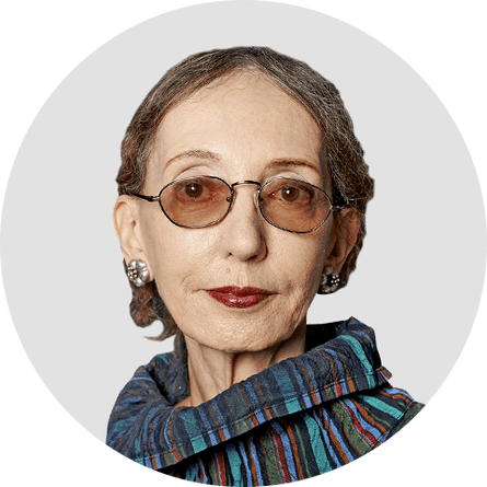Joyce Carol Oates. Circular panelist byline.