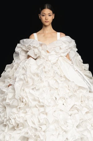In a series of FaceTime calls with members of the Valentino atelier, posted on his Instagram story, Piccioli said that 600m of fabric was used to create ruffles for the collection.