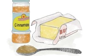 Jar of cinnamon and packet of butter illustration