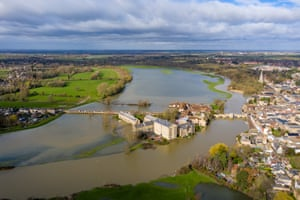The town of St Ives in Cambridgeshire surrounded by flood water after the River Great Ouse burst its banks