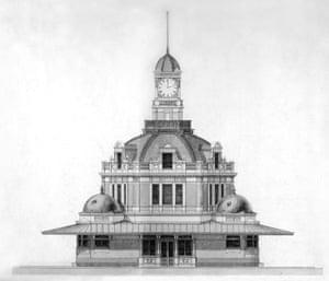 Crisp & Oatley's design for the tramways terminus building, 1895.