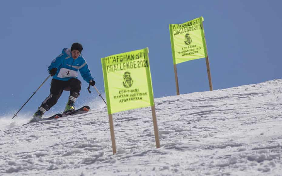 Nazira competes during her first run (of two) in the Afghan Ski Challenge