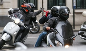 A scooter gang armed with hammers spotted near BBC studios in London in May.