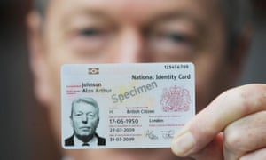 Alan Johnson, the former home secretary, with the national identity card proposed by New Labour in 2009.