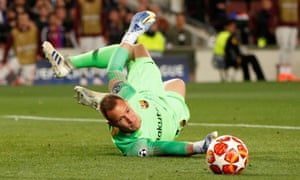 A strong right hand from Barcelona's Marc-Andre ter Stegen denies Liverpool's Mo Salah.