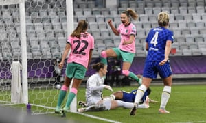Barcelona's Caroline Graham Hansen celebrates after scoring her side's fourth goal.