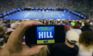 William Hill app on a smartphone at the Australian Open tennis