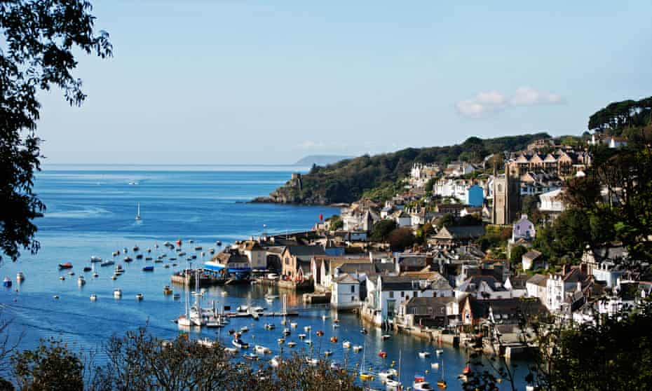 A view of Fowey from the Hall Walk in cornwall, uk