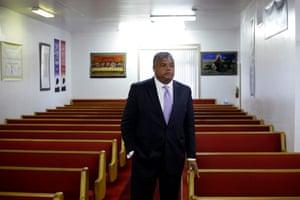 Rev Gregory Livingston inside the New Hope Baptist Church.