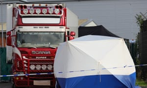 Police activity after 39 bodies were found inside a lorry container in Essex.