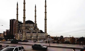 A render of Pristina's planned new central mosque. Critics say the style is too Turkish.