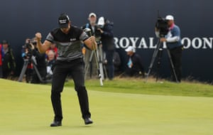 Stenson celebrates as he sinks his put to become champion.