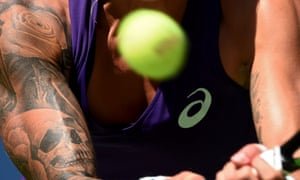 Tennis player with tattoos