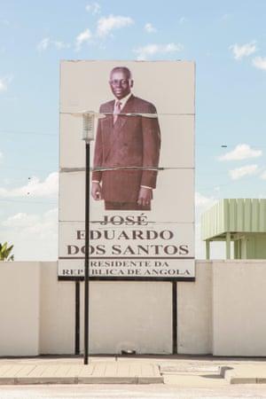 Poster of José Eduardo dos Santos, resigning president of Angola