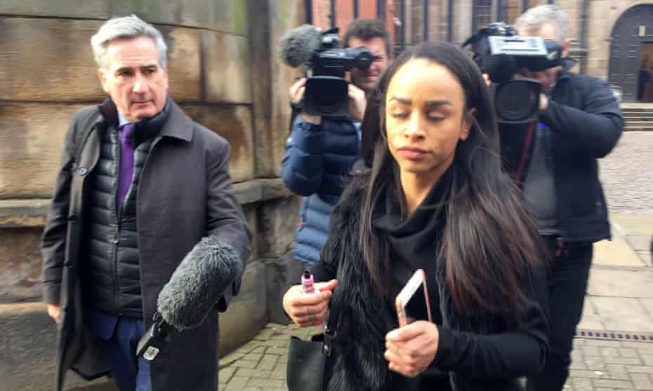 Jade Muzoka leaving Derby magistrates' court after receiving her suspended sentence.