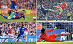 Clockwise from top left: Crystal Palace's Yohan Cabaye, Chelsea's Cesc Fàbregas, Arsenal's Petr Cech and Riyad Mahrez of Leicester City have stood out for a variety of reasons in this Premier League season.