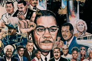 Mural depicting Malcolm X, Martin Luther King Jr, Rosa Parks and other notable African Americans, entitled African Amalgamation of Ubiquity, by Curtis Lewis, on the side wall of Operation Get Down, a drug rehabilitation center, 9980 Gratiot Avenue, Detroit, 2008