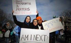 Sakeenah Dasti, 16, Amanah Dasti 11, and Ruqaiyah Dasti, 17, from Gaithersburg, Maryland.