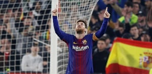Messi celebrates a goal during the win at Betis.