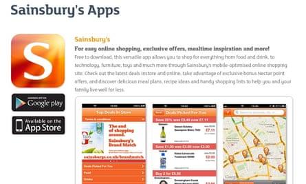 Sainsbury's app.